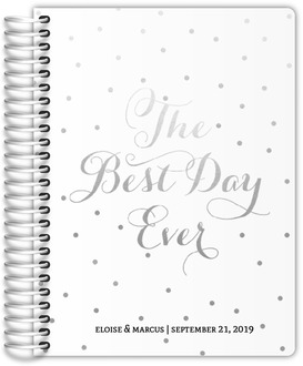 Best Day Ever Faux Silver Foil Wedding Journal