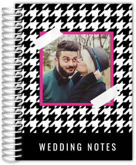 Black White Houndstooth Pattern Wedding Journal