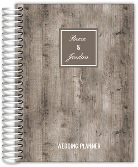 Rustic Woodgrain Monogram Wedding Planner