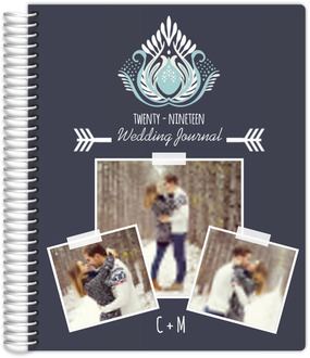 Modern Blue Lotus Flower Wedding Journal