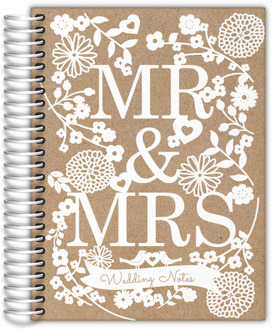 Kraft Faux Laser Cut Florals Wedding Journal