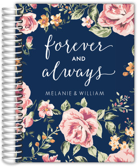 Navy Floral Forever and Always Wedding Journal
