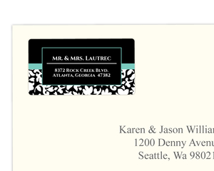 Elegant Black White and Aqua Address Label