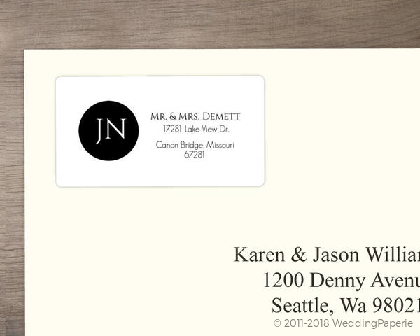 black and white monogram address label