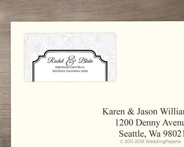 black and white lace address label wedding address labels