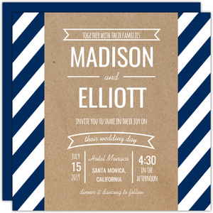 Navy Stripes and Kraft Banner Wedding Invitation