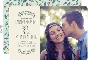 Botanical Wreath Save the Date Announcement
