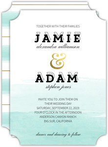 Teal Brushstroke Wedding Invitation