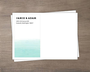 Teal Brushstroke Wedding Envelope