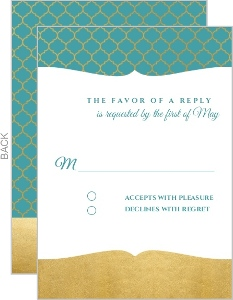 Bright Mandala Faux Gold Wedding Response Card