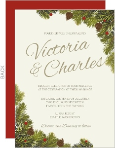 corner christmas branches wedding invitation