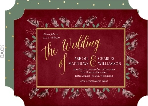 wintry christmas foilage wedding invitation
