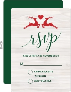 Christmas Reindeer Love Wedding Response Card