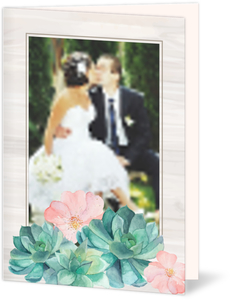 Watercolor Succulents Wedding Thank You Card