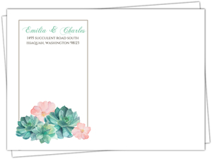 Watercolor Succulents Custom Envelope