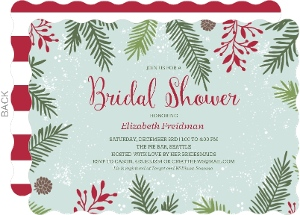 festive winter frame christmas bridal shower invitation
