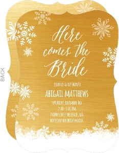 Winter Snow & Gold Bridal Shower Invitation