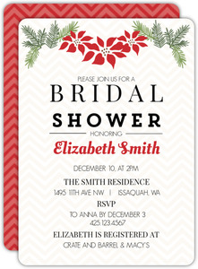 Poinsettia Holiday Decor Bridal Shower Invitation