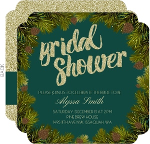 Faux Gold Glitter & Pine Branches Bridal Shower Invitation