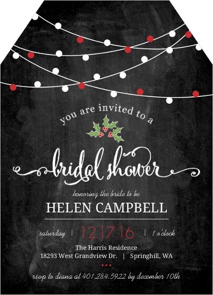 Hanging Lights Chalkboard Bridal Shower Invitation Bridal Shower