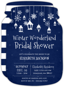 Whimsical Winter Lantern Bridal Shower Invitation