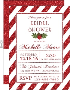 Faux Glitter Stripes Bridal Shower Invitation