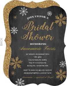 gold glitter snowflakes bridal shower invitation