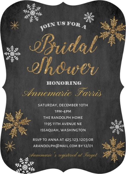 sparkling gold snowflakes bridal shower invitation