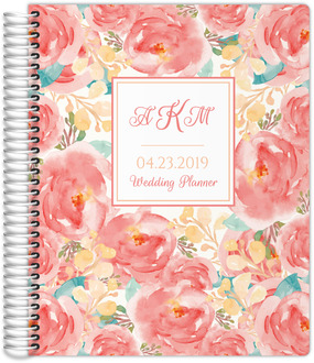 Pink Elegant Watercolor Floral Wedding Planner