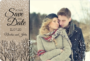 Wintry Snow Save The Date Magnet
