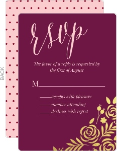 Floral Gold Foil Cabernet Wedding Response Card