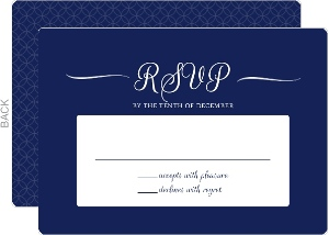 Silver Foil Confetti and Navy Wedding Response Card