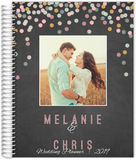 Colorful Confetti Chalkboard Photo Wedding Planner