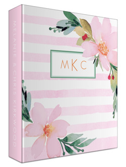 Floral Watercolor Monogram 3 Ring Binder Wedding Planner