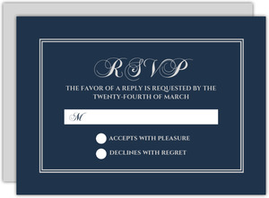 Navy and Silver Foil Leaf Frame Wedding Response Card