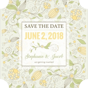 Yellow Floral Pattern Save The Date Magnet
