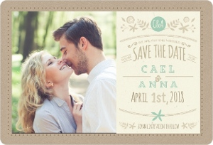 Mint Accent Kraft Save The Date Magnet