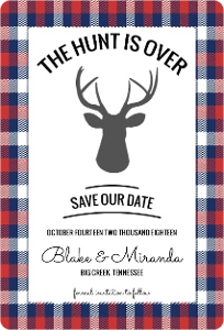 Red Blue Flannel Save The Date Magnet
