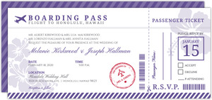 Destination Boarding Ticket Wedding Invitation