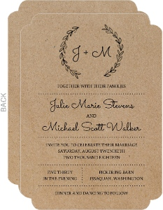 chalk wreath wedding invitation