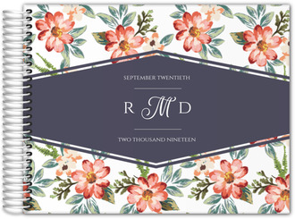Delicate Watercolor Flowers Wedding Guest Book