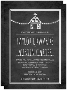 Rustic Barn Chalkboard Wedding Invitation