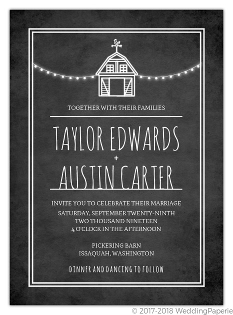 Rustic Barn Chalkboard Wedding Invitation Rustic And Western