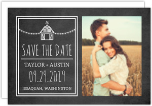 Rustic Barn Chalkboard Save The Date Card