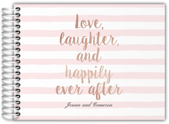 Pink Stripes Happily Ever After Guestbook
