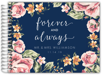 Navy Floral Wedding Guestbook