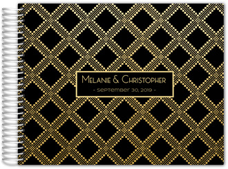 Elegant Faux Gold Pattern Wedding Guest Book