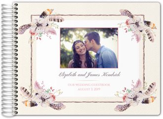 Rustic Floral Feather Decor Wedding Guest Book