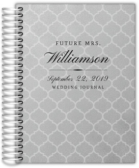 Faux Silver Foil Quatrefoil Wedding Journal