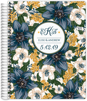 Blue and Yellow Floral Wedding Journal